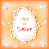 Easter card with egg and flower. Royalty Free Stock Photos