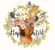 Easter card with egg and flowers. In retro style Stock Photo