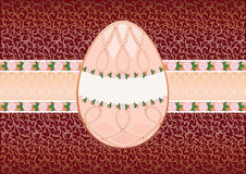 Easter card with the egg form 2. Congratulatory card with the form for your text. Antiquarian illustration in jewel style. Decorated with a flower filigree Royalty Free Stock Photo