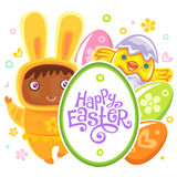 Easter Card with egg hunting rabbit child Stock Photos