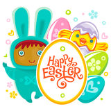 Easter Card with egg hunting rabbit child Royalty Free Stock Photo