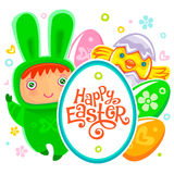 Easter Card with egg hunting rabbit child Stock Photo