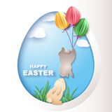 Easter card with egg and rabbits Stock Image
