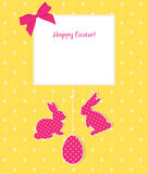 Easter card with egg, rabbits and seamless pattern. Perfect  Stock Images