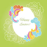 Easter card egg with wishes for a happy Easter Royalty Free Stock Image