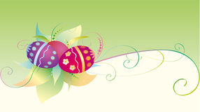 Easter card with eggs. Easter eggs with ornament on flower background Royalty Free Stock Photo