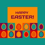 Easter card with eggs and banner. Stock Images