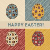 Easter card with eggs and banner. Stock Photo