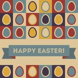 Easter card with eggs and banner. Royalty Free Stock Photo