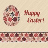 Easter card with eggs and banner. Royalty Free Stock Photography
