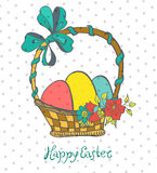 Easter card with eggs in basket and flowers Stock Photos
