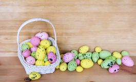 Easter Card with Easter Eggs in Basket Royalty Free Stock Image