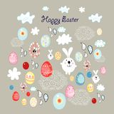 Easter card with eggs and bunnies Stock Photo