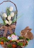 Easter card. Eggs easter bunny nest spring Stock Photo