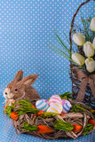 Easter card. Eggs easter bunny nest spring Royalty Free Stock Images