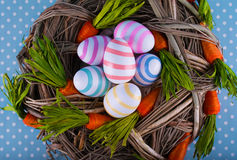 Easter card. Eggs easter bunny nest spring Royalty Free Stock Image