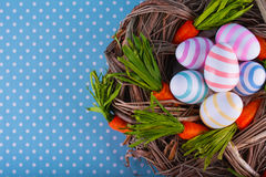 Easter card. Eggs easter bunny nest spring Royalty Free Stock Photos