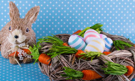 Easter card. Eggs easter bunny nest spring Royalty Free Stock Photo