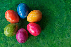 Easter card with eggs. Easter decorative eggs at green background/ Place for text Stock Images