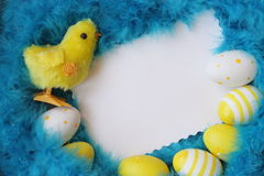 Easter Card. Eggs Feathers Background. Stock Photo Stock Photo