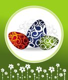 Easter card with eggs on floral background Stock Images