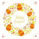 Easter card with eggs and floral designs. Festive Easter card. Floral ornament. Congratulations Stock Image