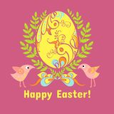 Easter card with eggs, flowers and birds. Easter egg in the leaves, flowers on a pink background, with a bow and birds Stock Images