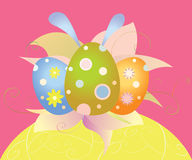 Easter card with eggs and flowers royalty free stock image