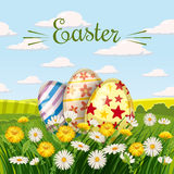 Easter card with eggs and flowers vector illustration