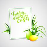 Easter card with eggs and flowers. Vector Stock Photography