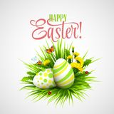 Easter card with eggs and flowers. Vector Stock Photos