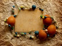 Easter card, Easter eggs, Retro spring background Stock Photos