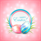 Easter card with eggs on pink background Royalty Free Stock Photography