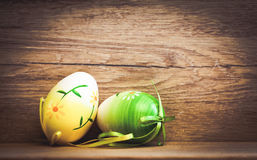 Easter card with eggs and pussy willow on rustic wooden backgrou Royalty Free Stock Photo