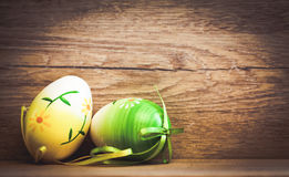 Easter card with eggs and pussy willow on rustic wooden backgrou Stock Image
