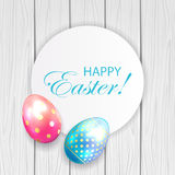 Easter card and eggs on wooden background Royalty Free Stock Photo