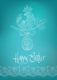 Easter card ethnic chick hand-drawn typography Royalty Free Stock Photos