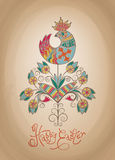 Easter card ethnic chick hand-drawn typography Royalty Free Stock Photo