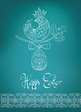 Easter card ethnic chick hand-drawn typography Stock Photography
