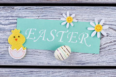 Easter card and felt items. Royalty Free Stock Images