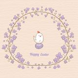 Easter card with floral frame and chicken Royalty Free Stock Photos