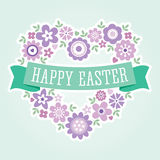Easter card floral heart purple