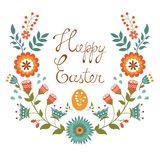 Easter card with floral wreath Stock Image