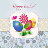 Easter card with flower and eggs Stock Photo