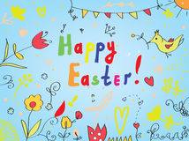 Easter card with flowers, birds, decorations Stock Photos