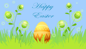 Easter card with flowers and eggs Stock Photo