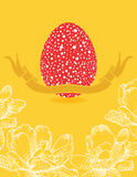 Easter card with flowers and red egg Stock Photos
