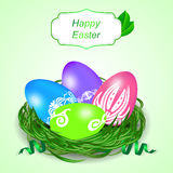Easter card with four eggs, grass and tag. Stock Photos