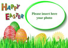 Easter card with frame for photo Stock Photos