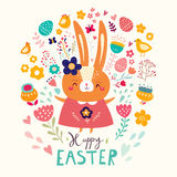 Easter card with funny bunny vector illustration
